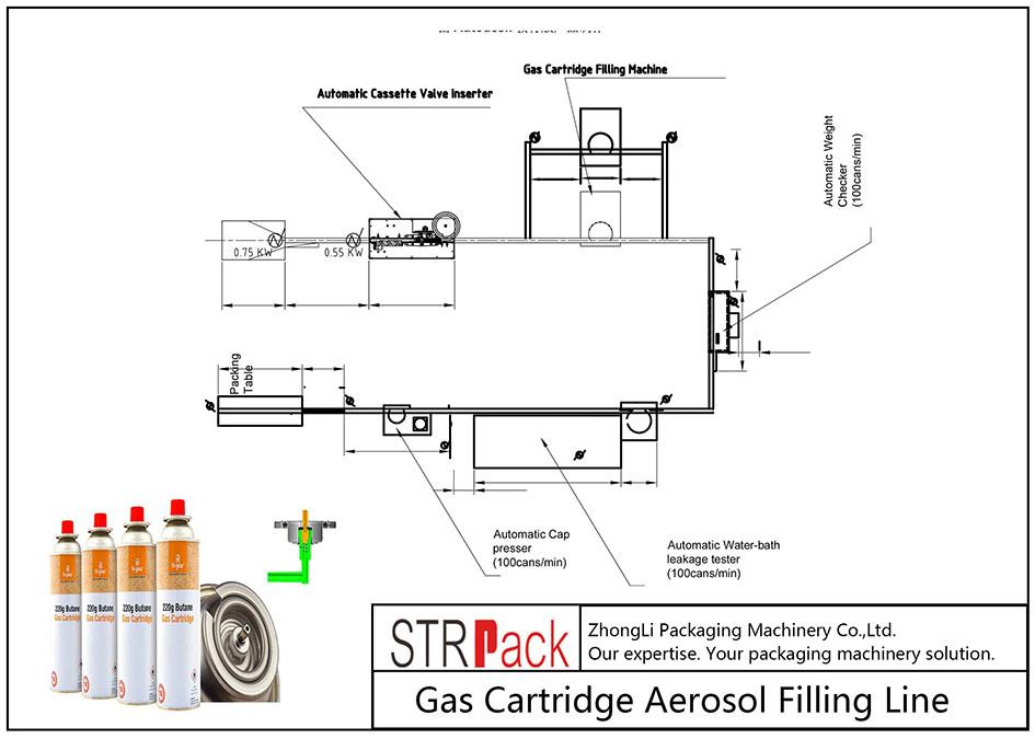 Avtomatik gaz kartridjini aerozol bilan to'ldirish liniyasi